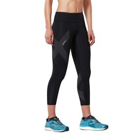 2XU Womens Mid-Rise 7/8 Compression Tights - Black/Dotted Reflective Logo