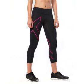 2XU Womens Mid-Rise 7/8 Compression Tights - Black/Cerise Pink