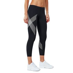 2XU Compression Womens 7/8 Tights - Black/Striped White